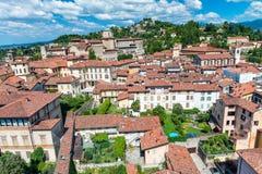 Bella vista aerea di paesaggio urbano di Bergamo Alta, Italia Immagini Stock Libere da Diritti