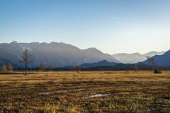 Bella vista al Murnauer Moos in Baviera Fotografie Stock Libere da Diritti