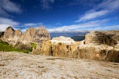 Bella vista alle alpi dal Sass Pordoi, Dolomiten, Italia, Europa Fotografia Stock