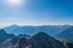 Bella vista dalla montagna Valluga, alpi di Lechtal, Austria Fotografia Stock Libera da Diritti