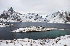 Bella vista dalle isole di Lofoten, Norvegia nell'inverno Immagini Stock Libere da Diritti