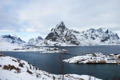 Bella vista dalle isole di Lofoten, Norvegia nell'inverno Fotografie Stock Libere da Diritti