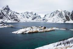 Bella vista dalle isole di Lofoten, Norvegia nell'inverno Immagine Stock