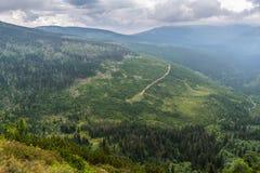 Bella vista dalle montagne alla valle verde con gli alberi e Fotografia Stock Libera da Diritti