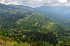 Bella vista dalle montagne alla valle verde con gli alberi e Immagine Stock Libera da Diritti