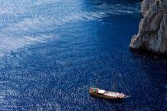Bella vista degli yacht ancorati da Capri Island Fotografia Stock