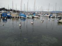Bella vista del lago di Ginevra fotografia stock libera da diritti