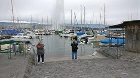 Bella vista del lago di Ginevra fotografia stock
