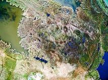 Bella vista del lago invaso con le canne Fotografia Stock Libera da Diritti