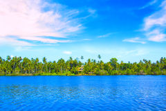 Bella vista del lago Koggala, Sri Lanka Fotografia Stock