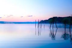 Bella vista del lago in nebbia del mornig con gli alberi e le montagne mistiche sui precedenti nei toni porpora-blu teneri, con Immagini Stock