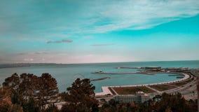 Bella vista del mare a Bacu Azerbaigian fotografia stock libera da diritti