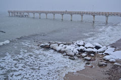 Bella vista del mare nell'inverno Immagini Stock