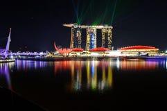 Bella vista del modo Singapore del porticciolo Fotografie Stock Libere da Diritti