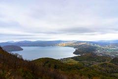 Bella vista del paesaggio del lago Toya, Hokkaido, Giappone Immagini Stock Libere da Diritti