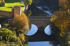 Bella vista del ponticello della città di Lussemburgo Fotografia Stock