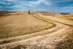 Bella vista del sentiero per pedoni del paese al tramonto in Toscana Immagine Stock