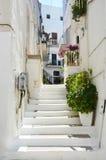 Bella vista del vicolo stretto scenico con le piante in città bianca romantica di Ostuni, Puglia, Italia del sud Fotografia Stock Libera da Diritti