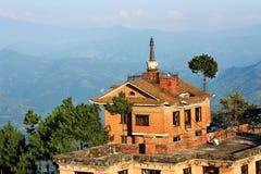 Bella vista dell'Himalaya - alba Nepal di Nagarkot Immagine Stock