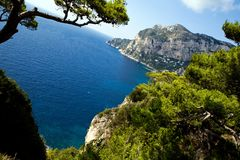 Bella vista dell'isola di Capri Fotografia Stock