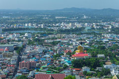 Bella vista della città della provincia di Nakhon Sawan, Tailandia Fotografia Stock Libera da Diritti