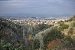 Bella vista della città della gomma a Smirne alla Turchia alla stagione di autunno Fotografie Stock Libere da Diritti