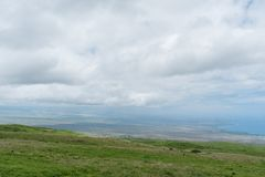 Bella vista della costa di Kohala sulla grande isola delle Hawai presa dall'più alta elevazione Immagine Stock