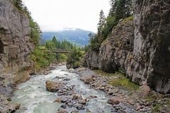 Bella vista della gola famosa del ghiacciaio in Grindelwald nelle alpi di estate, Svizzera di Bernese Fotografia Stock