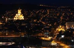 Bella vista della notte Tbilisi Fotografia Stock Libera da Diritti