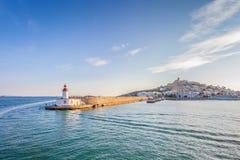 Bella vista della siluetta del faro di Ibiza immagine stock libera da diritti