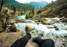 Bella vista della valle di Parvati Fotografia Stock Libera da Diritti