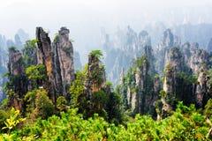 Bella vista delle colonne dell'arenaria del quarzo (montagne dell'avatar) fotografia stock libera da diritti