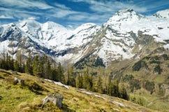Bella vista delle montagne delle alpi Primavera in parco nazionale Hohe Tauern, Austria Fotografie Stock Libere da Diritti