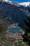 Bella vista delle montagne e del lago Uzungol in Turchia Immagine Stock Libera da Diritti