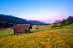 Bella vista di autunno delle alpi bavaresi, Germania Fotografia Stock Libera da Diritti