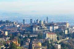 Bella vista di Bergamo, Lombardia, panorama Italia Fotografie Stock Libere da Diritti