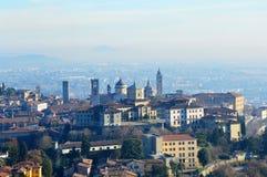 Bella vista di Bergamo, Lombardia, panorama Italia Fotografia Stock