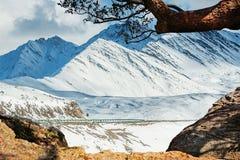 Bella vista di inverno della montagna della neve Immagini Stock