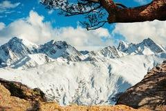 Bella vista di inverno della montagna della neve Fotografia Stock
