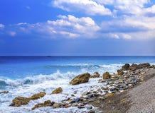 Bella vista di mezzogiorno della spiaggia Fotografia Stock Libera da Diritti