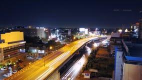 Bella vista di notte nella città di Pekanbaru, Riau - Indonesia immagine stock libera da diritti