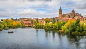 Bella vista di Salamanca con Rio Tormes e la cattedrale, Spagna Fotografie Stock