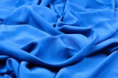 Bella vista di tessuto di seta blu Fotografia Stock Libera da Diritti