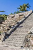 Bella vista di una scala di pietra con la decorazione maya fotografie stock libere da diritti