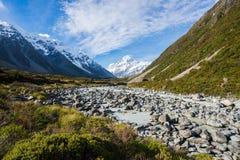 Bella vista durante la passeggiata al ghiacciaio nel cuoco National Par del supporto Immagini Stock