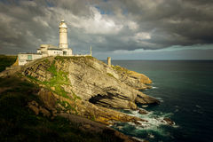 Bella Vista lighthouse (Santander, Spain). Bella Vista lighthouse and cliffs in the greater Cape of Santander (Cantabria, Spain Stock Photo