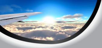 Bella vista nell'oblò dell'aereo Immagini Stock