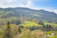 Bella vista panoramica di Gruyeres La Svizzera, Europa Fotografie Stock Libere da Diritti