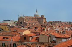Bella vista panoramica su Venezia dalla cima Fotografia Stock