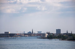 Bella vista sopra il canale principale a Copenhaghen, Danimarca Immagini Stock
